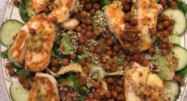 Halloumi, Passion Fruit and Crispy Chick Pea Salad!